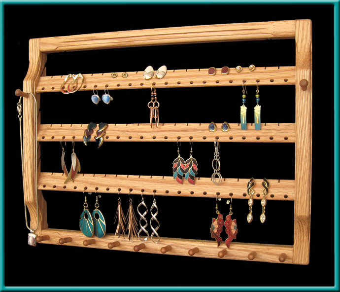 3-Tier Extra Wide Earring Holder Close-Up, Oak with Clear finish